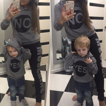 Lovely Family Hooded Collar Letter Grey Boys Hoodie