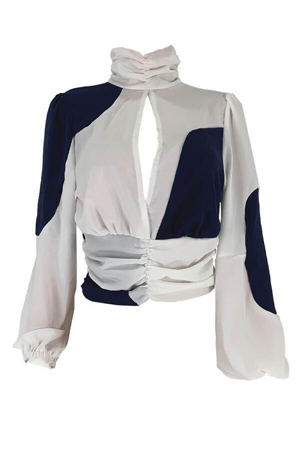 Lovely Casual Patchwork White Blouse