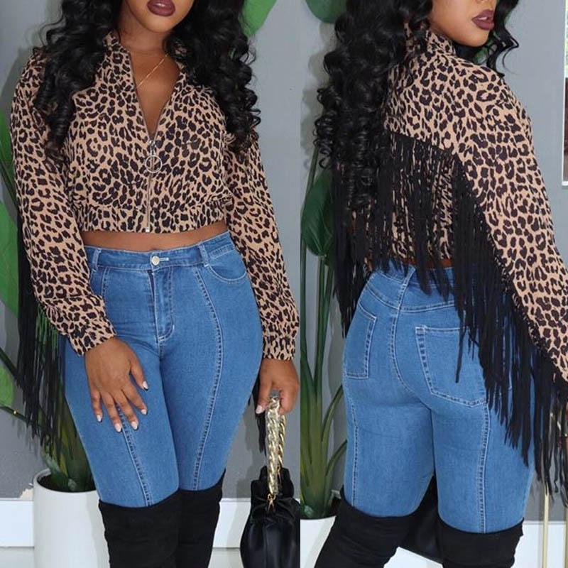 Lovely Casual Leopard Printed Tassel Design Coat