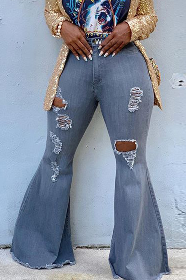 Lovely Trendy Hollow-out Grey Jeans