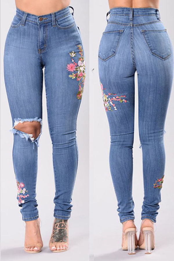 Lovely Casual Embroidered Design Baby Blue Jeans