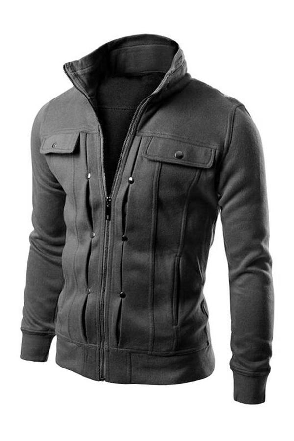 Lovely Casual Zipper Design Dark Grey Jacket