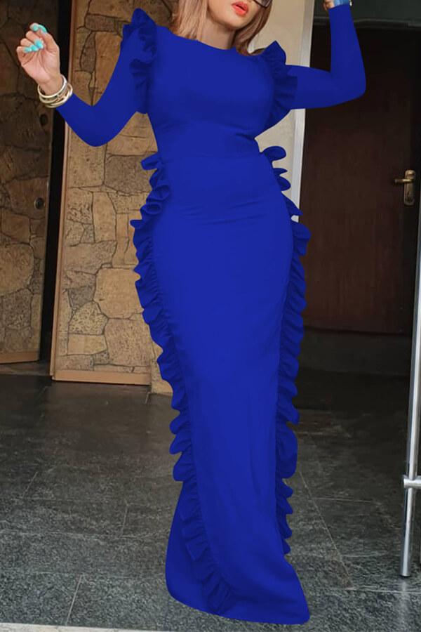 Lovely Casual Flounce Design Blue Floor Length Dress
