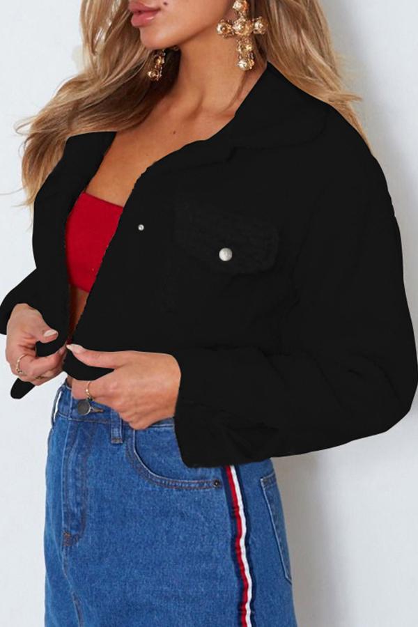 Lovely Casual Basic Black Coat