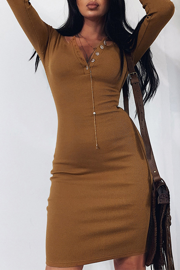 Lovely Casual Skinny Brown Mini Dress