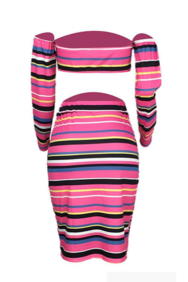 Lovely Casual Striped Two-piece Skirt Set
