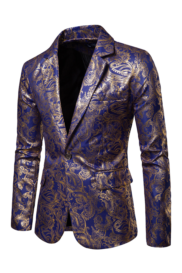 Lovely Chic Turndown Collar Printed Royal Blue Formal Wear