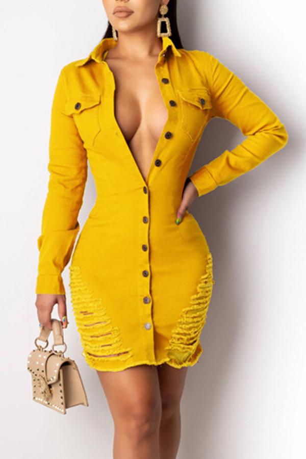Lovely Trendy Turndown Collar Buttons Design Yellow Mini Dress