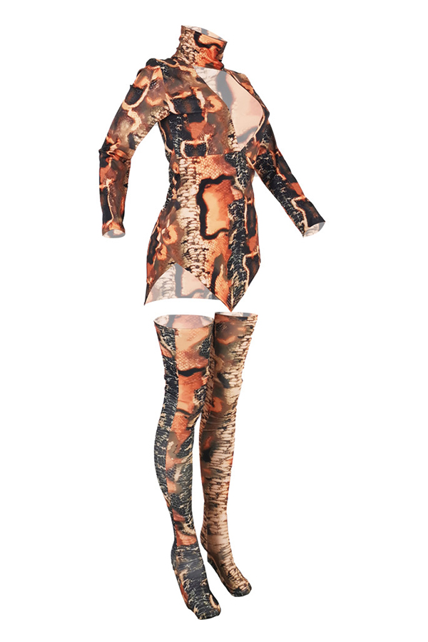 Lovely Trendy Turtleneck Printed Multicolor Two-piece Pants Set(Without Lining)