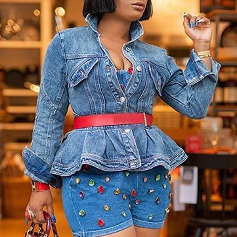 Lovely Casual Flounce Design Blue Coat(Without Belt)