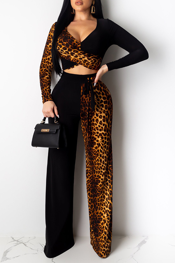 Lovely Sexy Leopard Printed Brown Two-piece Pants Set