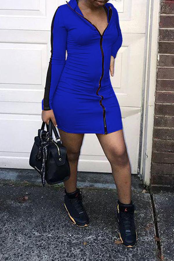 Lovely Casual Zipper Design Blue Mini Dress