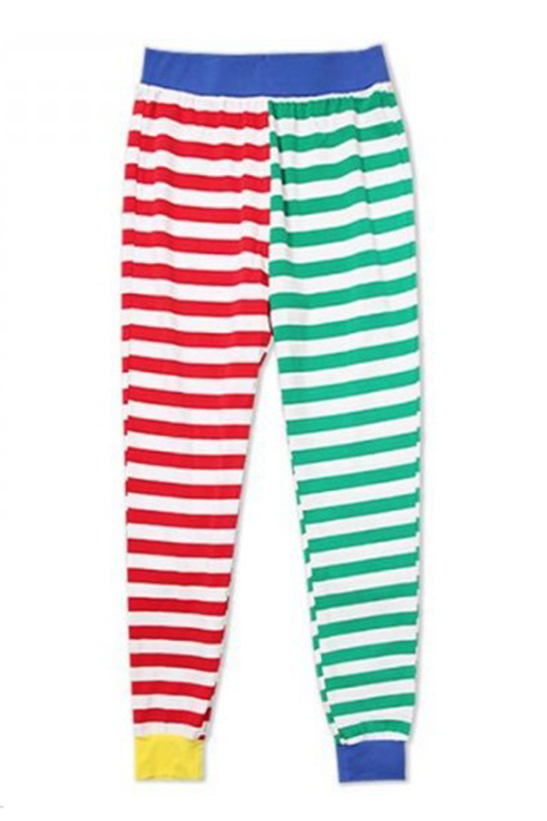 Lovely Family Striped Printed Multicolor Mother Two-piece Pants Set