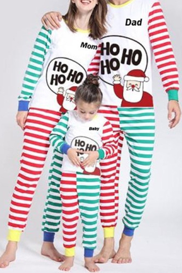 Lovely Family Striped Printed Multicolor Father Two-piece Pants Set