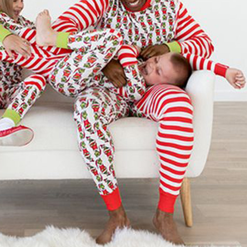 Lovely Family Striped Printed Red Father Two-piece Pants Set