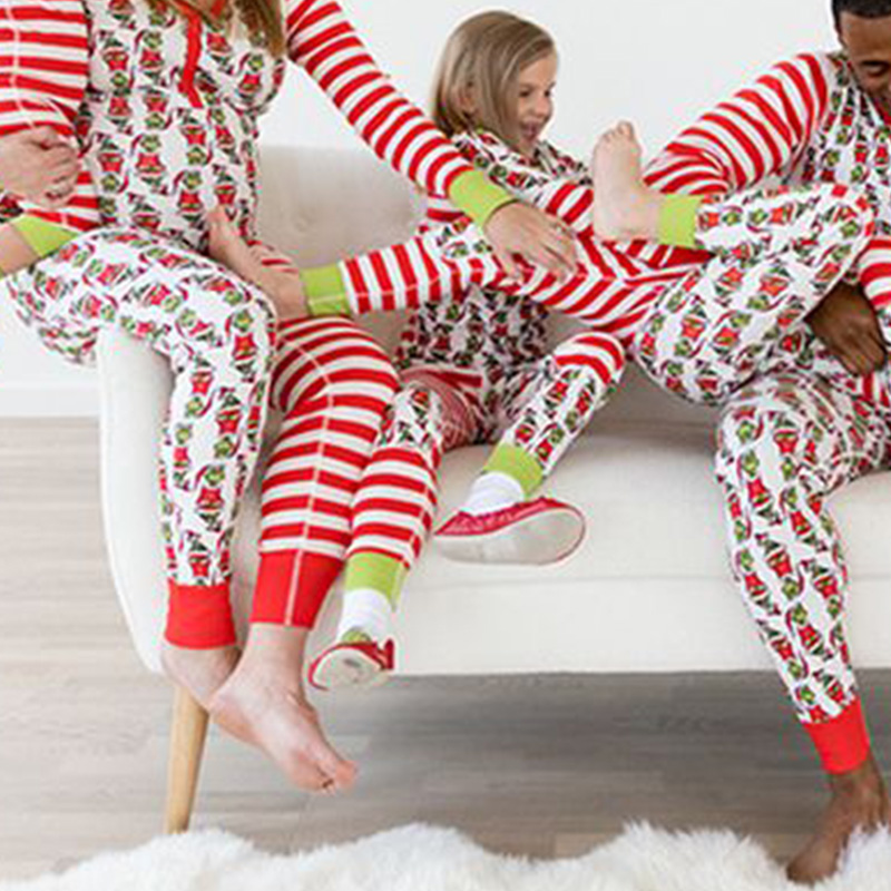Lovely Family Printed Red Two-piece Pants Set