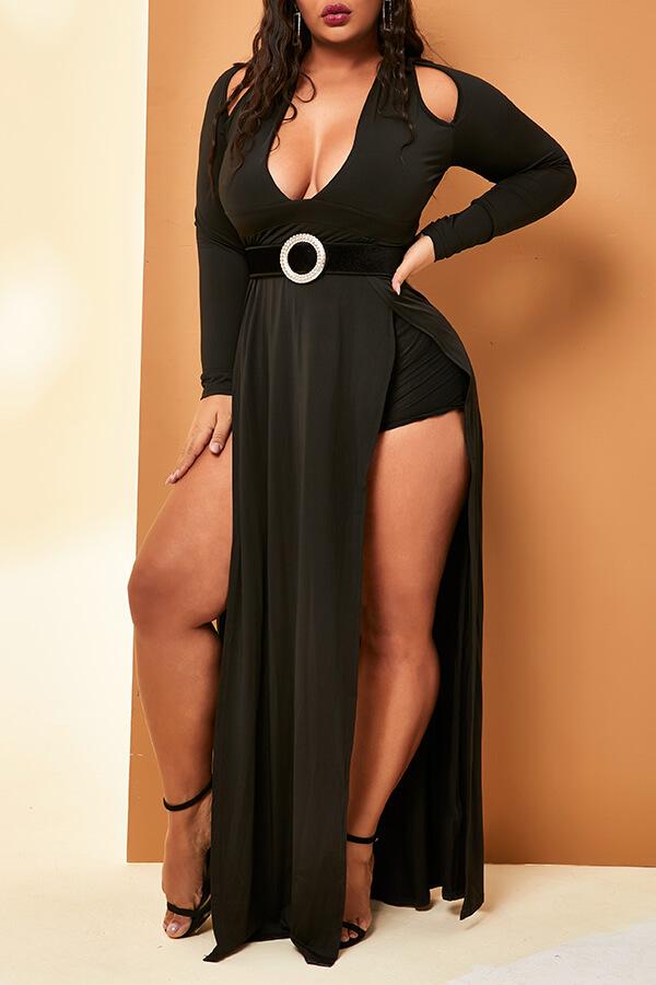 Lovely Casual V Neck Side High Slit Black Floor Length Plus Size Dress