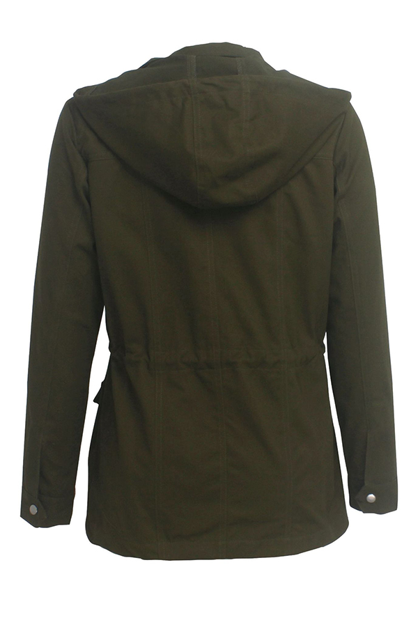 Lovely Casual Pocket Patched Green Coat