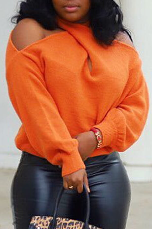 Sweaters & Cardigans Lovely Casual Cross-over Design Orange Sweater фото