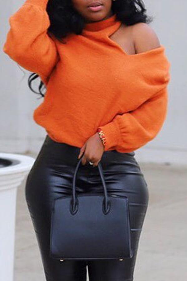 Lovely Cross-over Design Sweater Casual Orange