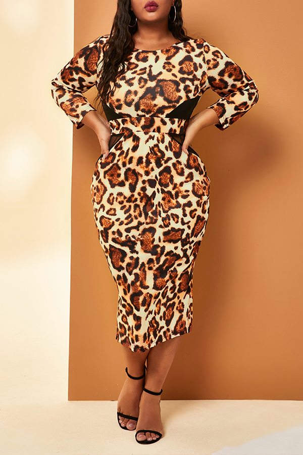 Lovely Trendy Leopard Printed Mid Calf Plus Size Dress