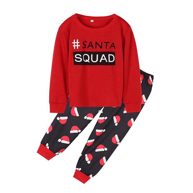 Lovely Family Letter Printed Red Kids Two-piece Pants Set