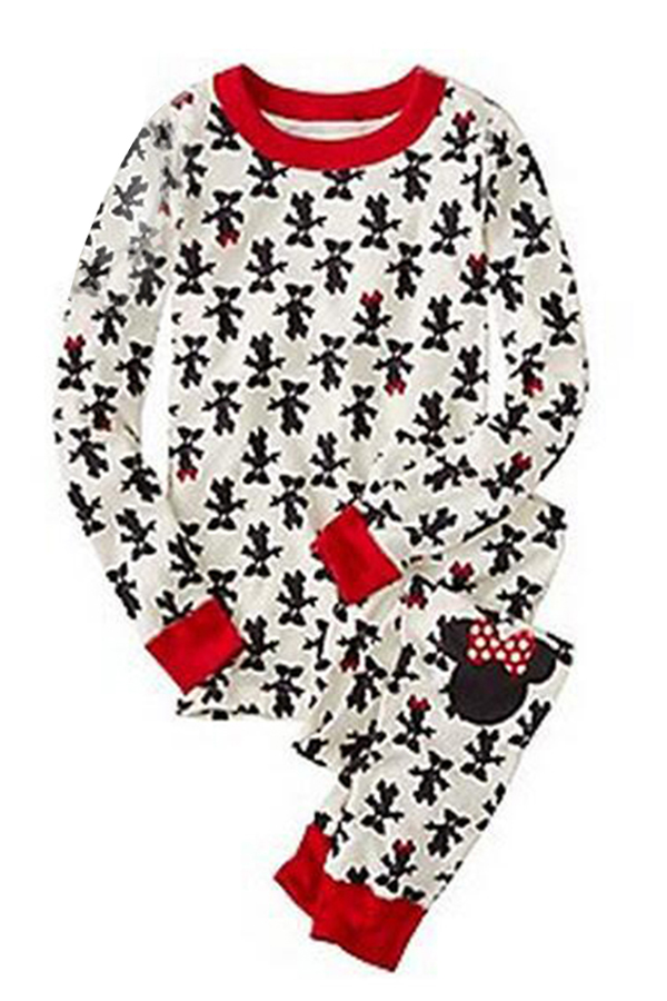 Lovely Family Printed White Kids Two-piece Pants Set