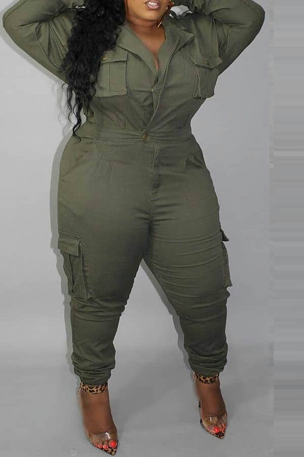 Lovely Casual Buttons Design Army Green Plus Size One-piece Jumpsuit