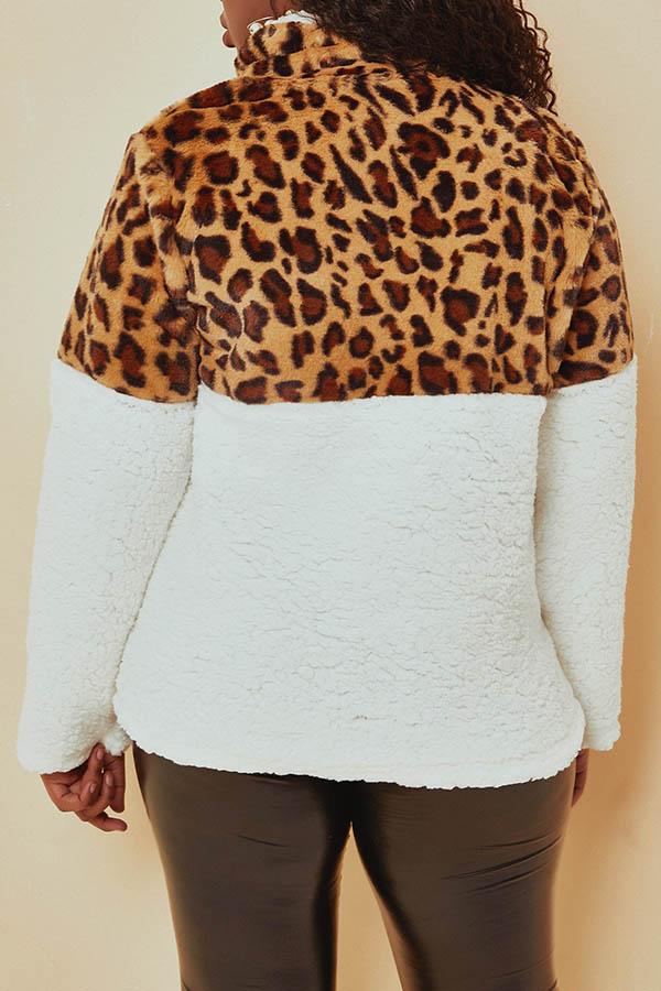 Lovely Trendy Leopard Printed Patchwork Yellow Sweatshirt Hoodies