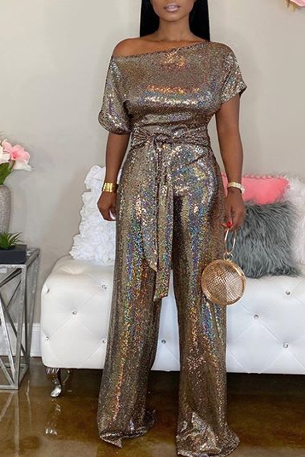 Lovely Trendy Loose Lace-up Gold One-piece Jumpsuit