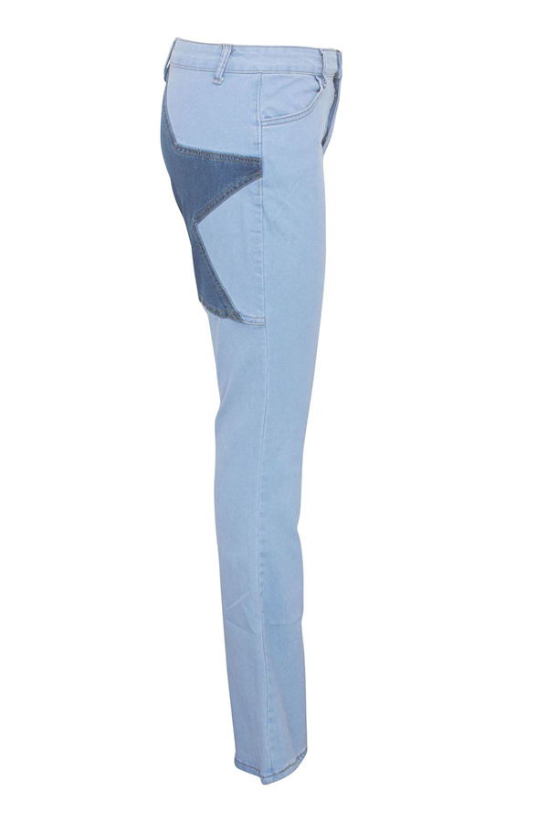 Lovely Casual Star Baby Blue Jeans