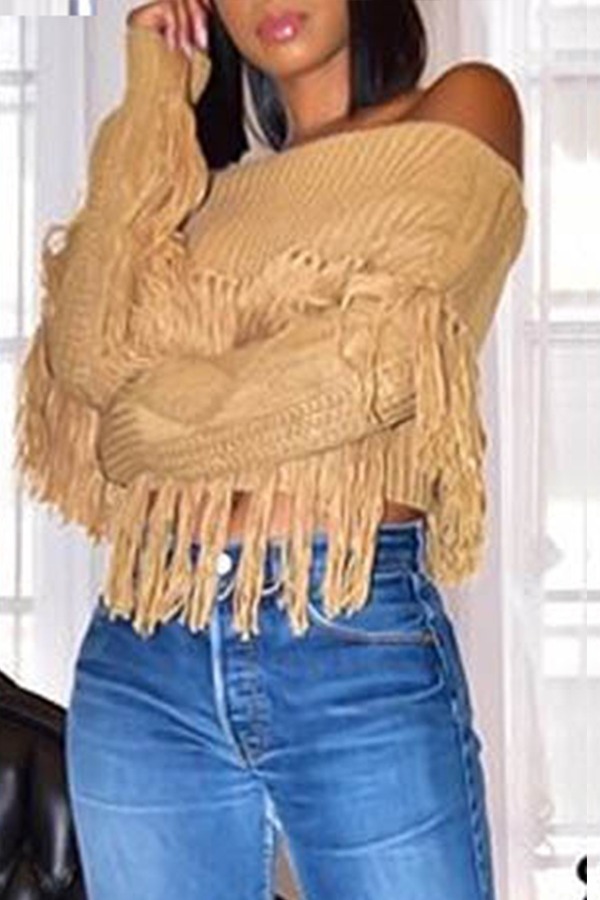 Lovely Casual Tassel Design Brown Sweater