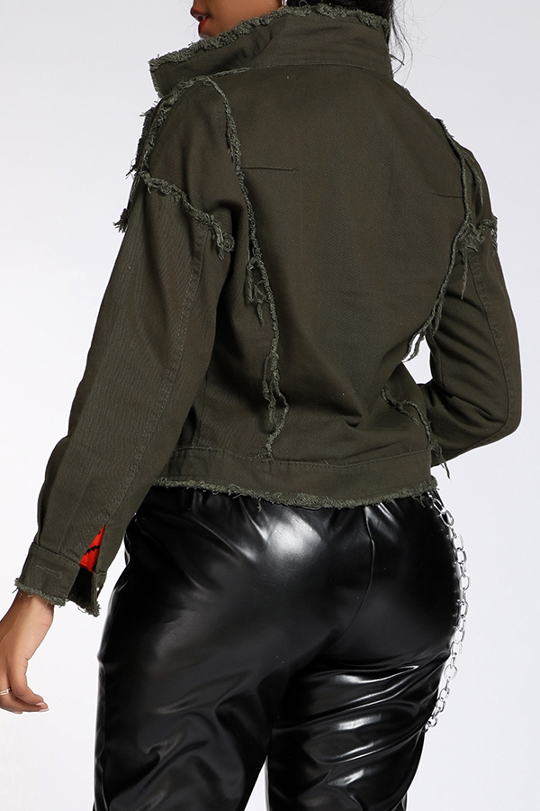 Lovely Trendy Patchwork Army Green Coat