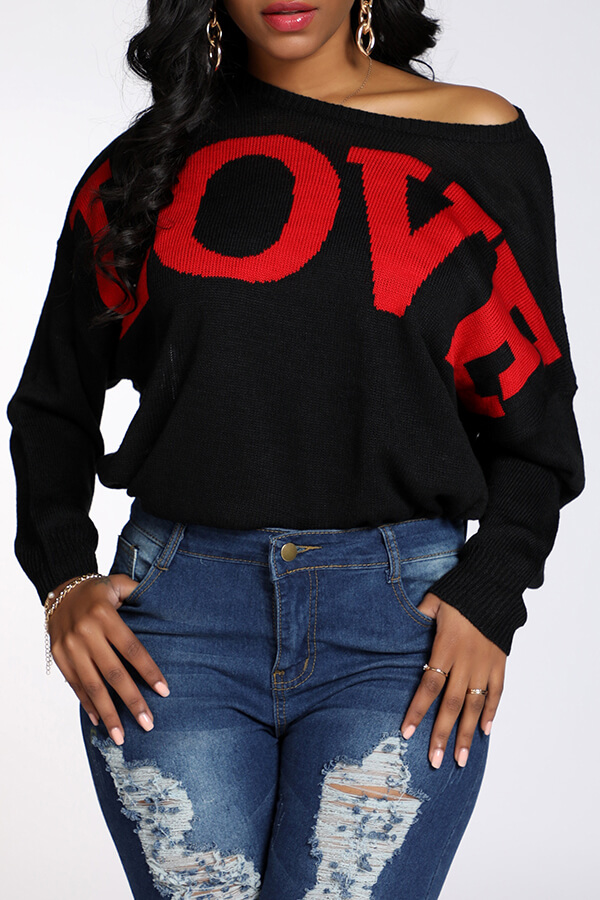 Lovely Casual Letter Black Sweater