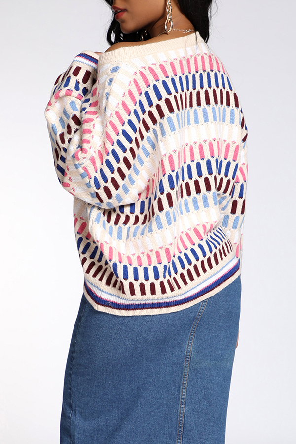 Lovely Casual Geometric White Sweater