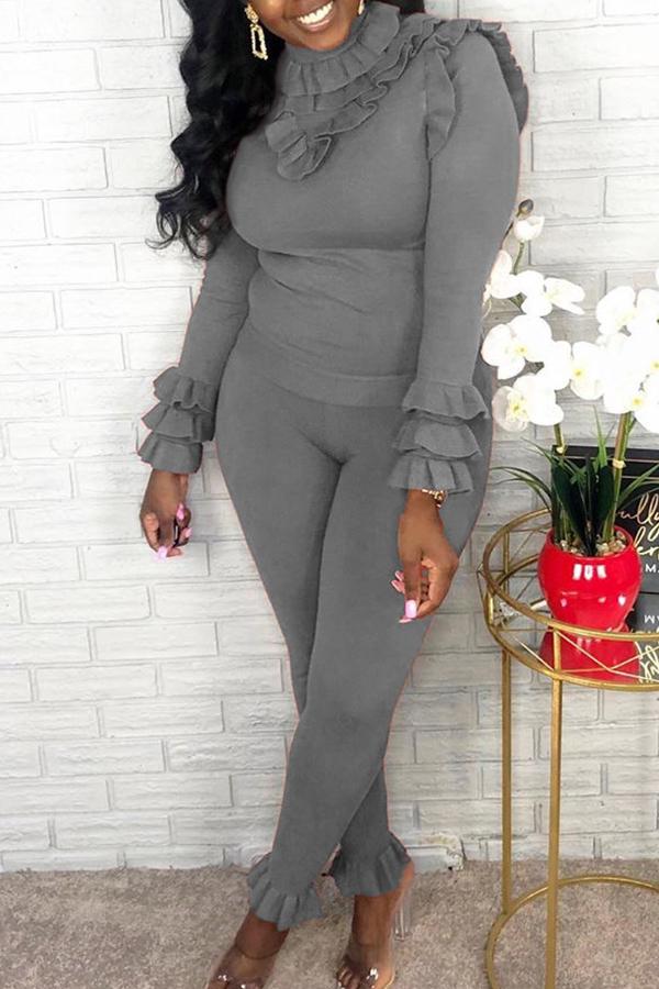 Lovely Sweet Turtleneck Flounce Design Grey Two-piece Pants Set