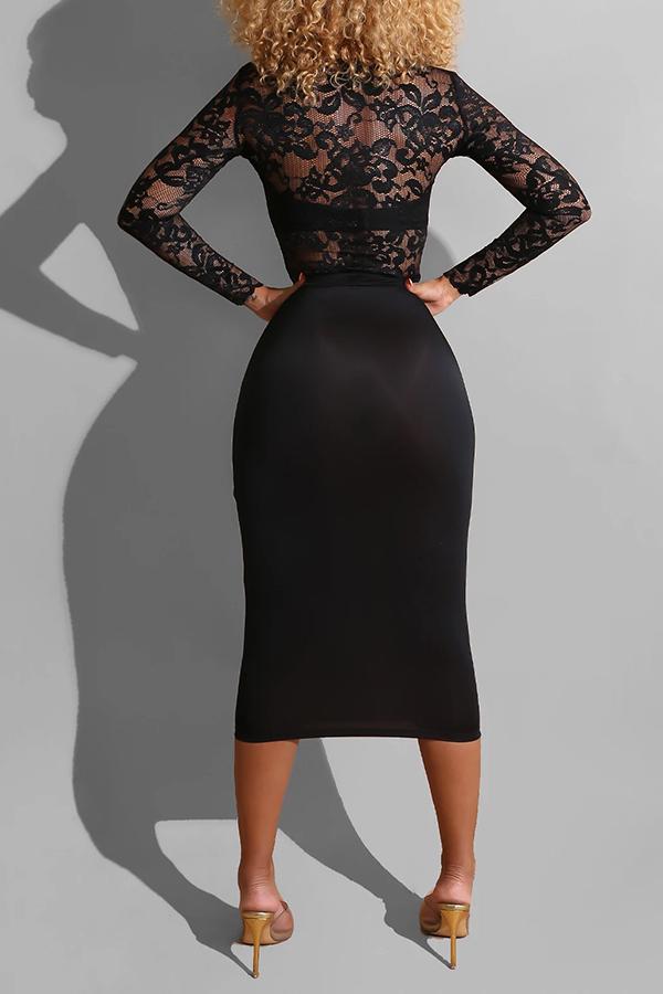 Lovely Sweet O Neck Patchwork Black Mid Calf Dress