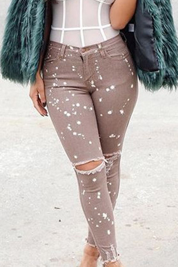 Lovely Casual Hollow-out Coffee Jeans