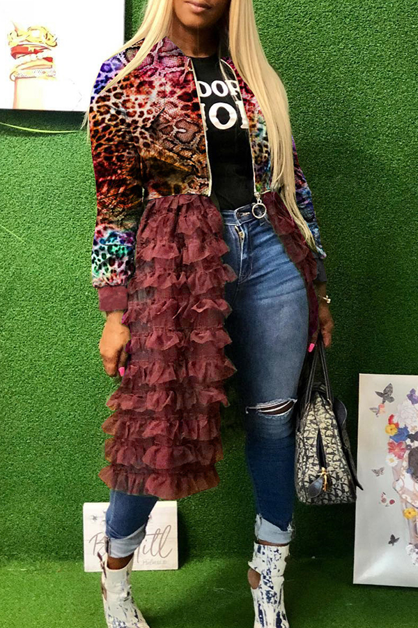 Lovely Sweet Printed Patchwork Multicolor Coat