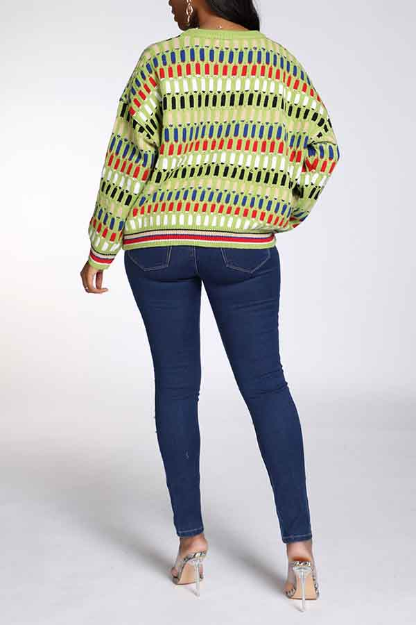 Lovely Casual O Neck Geometric Green Sweater