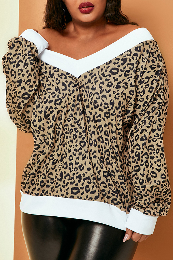 Lovely Casual V Neck Leopard Printed Plus Size Sweater