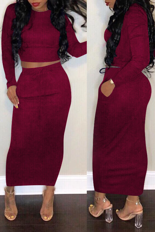 Lovely Casual Skinny Basic Wine Red Two-piece Skirt Set