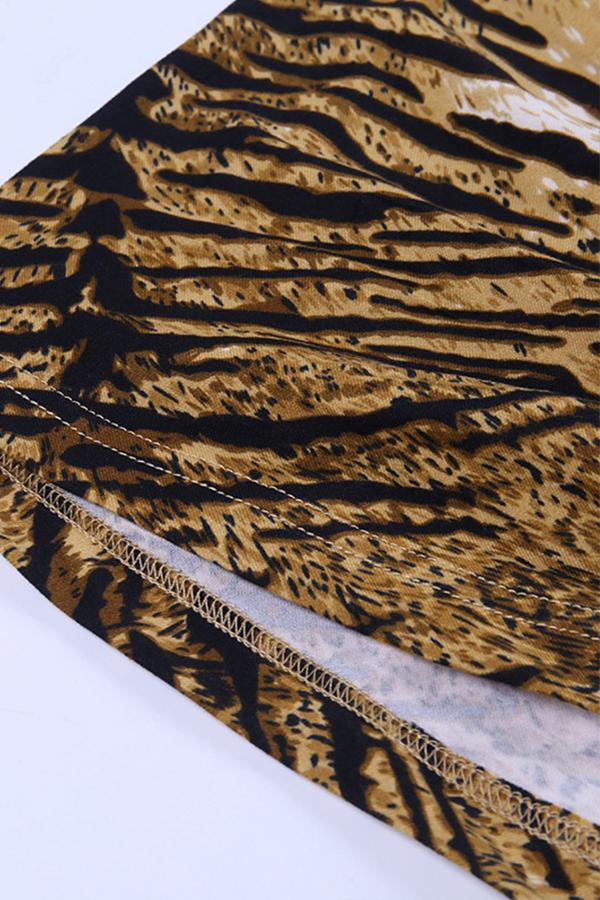 Lovely Casual One Shoulder Tiger Stripes Mini Dress