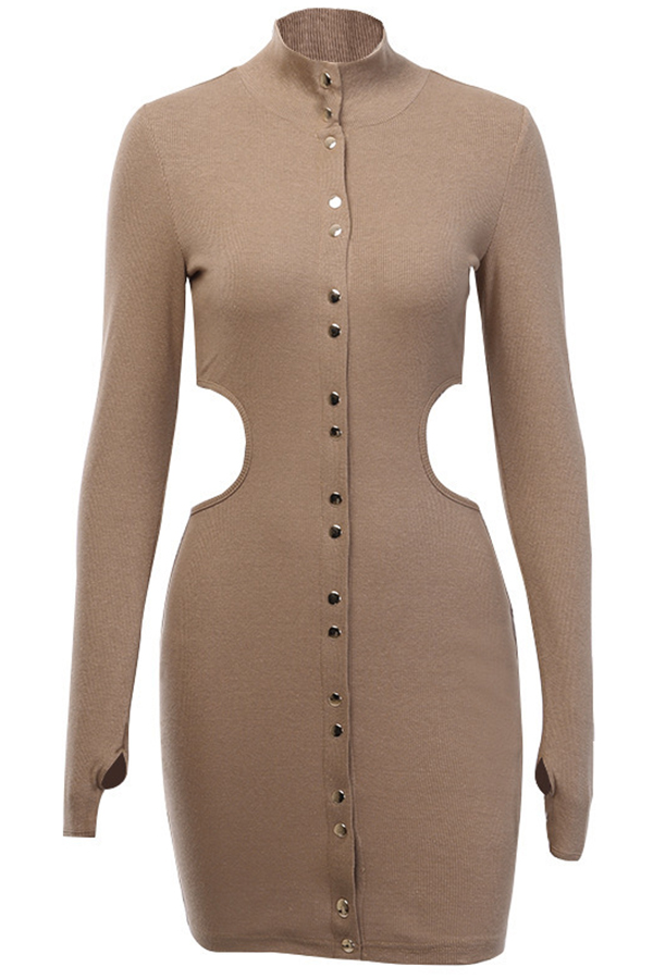 Lovely Casual Buttons Design Brown Mini Dress