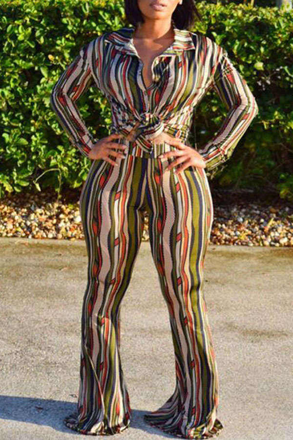 Lovely Casual Striped Printed Multicolor Two-piece Pants Set