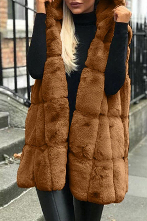 Lovely Casual Basic Winter Brown Vests