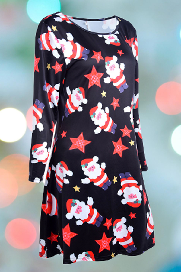 Lovely Christmas Day Printed Bright Red Knee Length Plus Size Dress