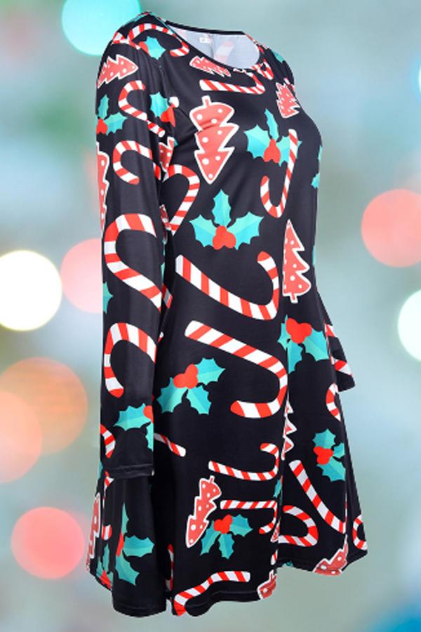 Lovely Christmas Day Printed Black Knee Length Plus Size Dress