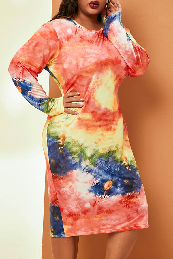 Lovely Casual O Neck Printed Multicolor Knee Length Plus Size Dress