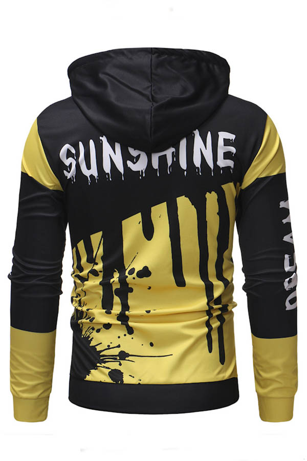 Lovely Trendy Hooded Collar Printed Yellow Hoodie
